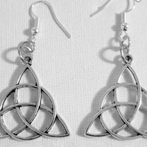 Trinity Knot Hammered Silver Earrings